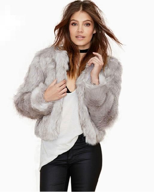 Free Shipping 2015 New Winter Women Faux Fur Coats Silver Grey ...