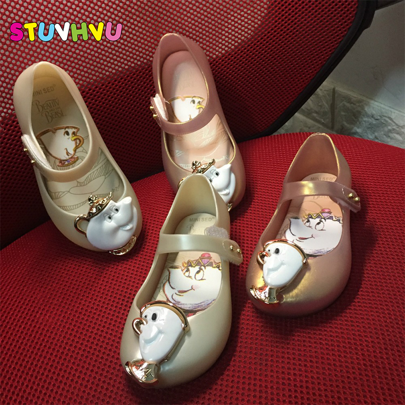 Size 15-18.5cm Hot Sales Kids Baby Jelly Shoes Sandals 2019 Mini Sed Children's Shoes Beauty Beast Roses Teapot Fish Mouth