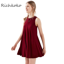 RichKoKo 2017 Wine Red Sleeveless Casual Mini Dress Women Clothing Sweet Chic Summer Dress Black Loose Ruched Female Vestido