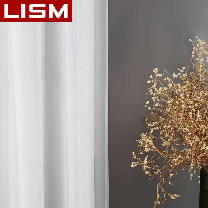 LISM สีขาวผ้าม่านหน้าต่าง Tulle SHEER สำหรับห้องนั่งเล่นห้องนอนห้องครัวสำเร็จรูปหน้าต่างตกแต่งแผง
