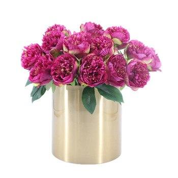 INDIGO High Quality 9pcs Peony 2 heads Burgundy Peony Decorative Artificial Wedding Flower Party Event Silk Flower Free Shipping