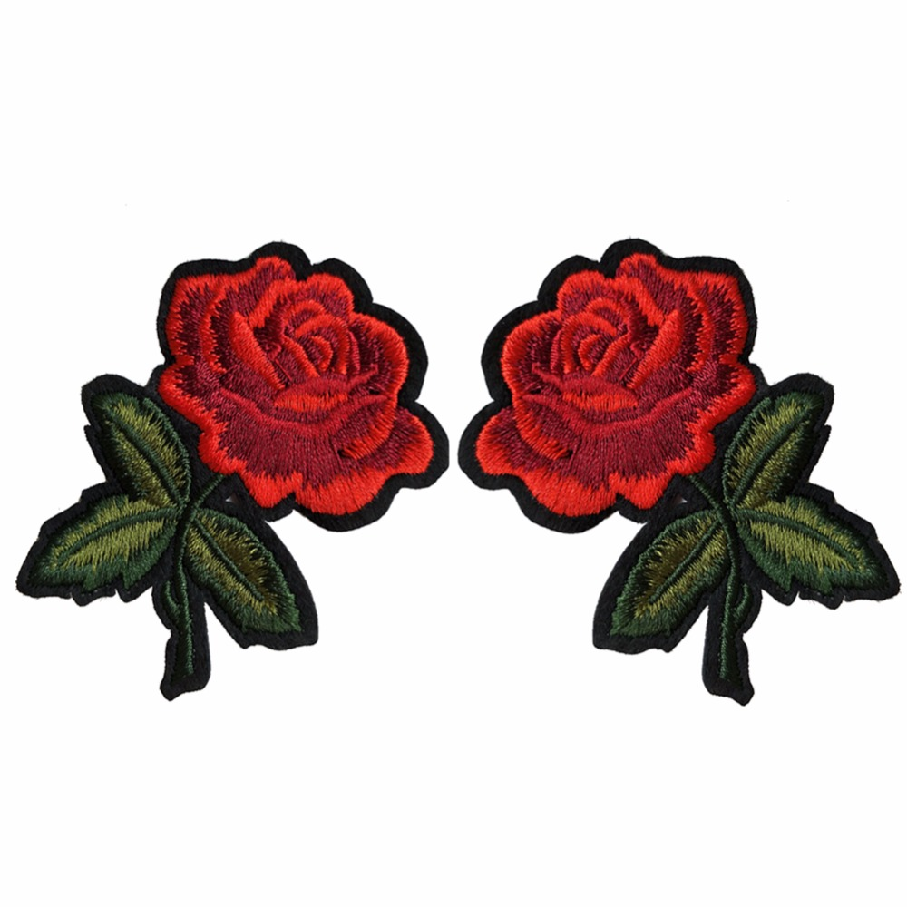 New pcs small red rose flower embroidery sew on applique