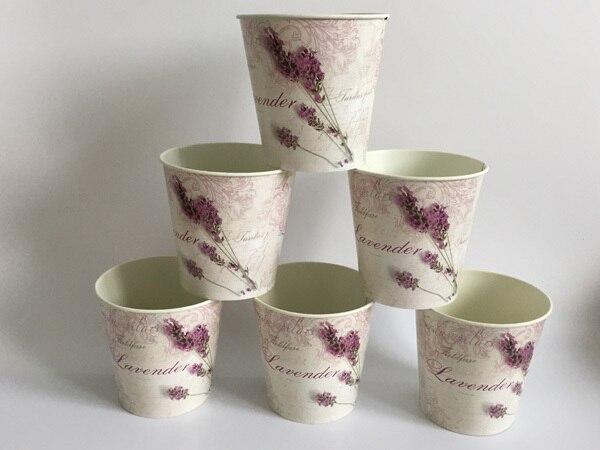 6 Pz/lotto D10.5xH10CM Mini Vaso per la Decorazione di Cerimonia Nuziale Lavanda centro della tavola di Ferro vasi di fiori