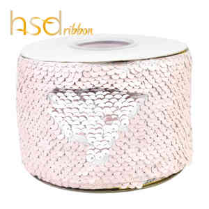 Image 3 - HSDRibbon 3 inch 75mm double color Sequin Fabric Reversible Glitter Sequin Ribbon 25Yards/Roll