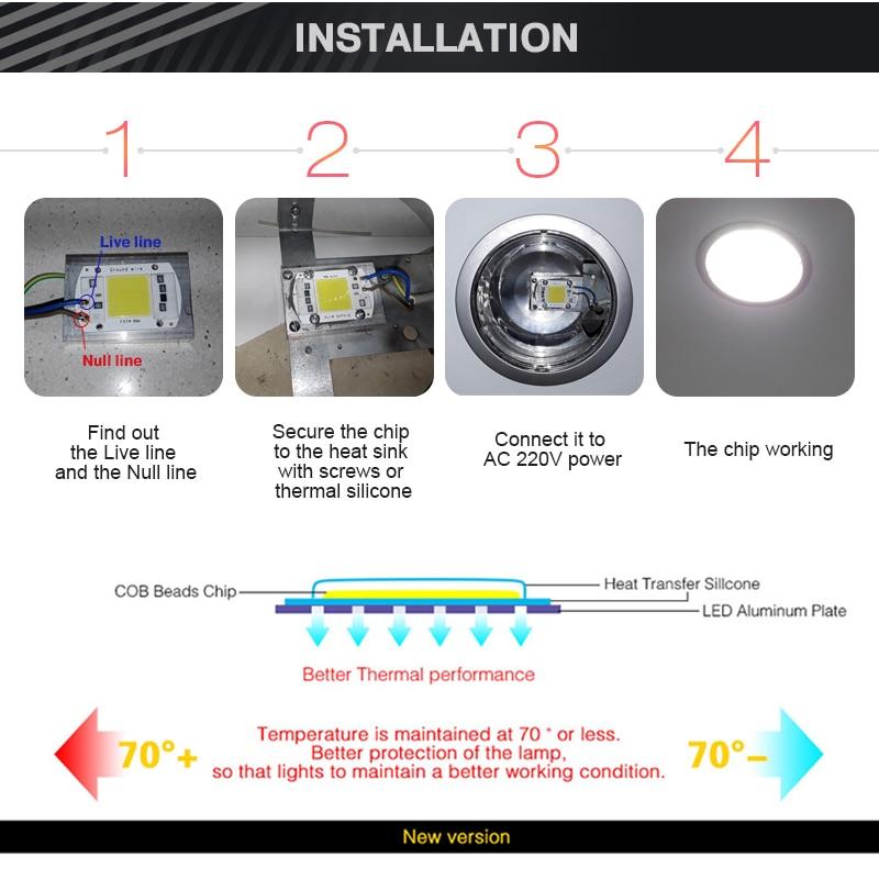 COB LED Puce 50W 220V 30W 20W 10W 3W Intelligent IC Pas Besoin Pilote - Accessoires d'éclairage - Photo 5
