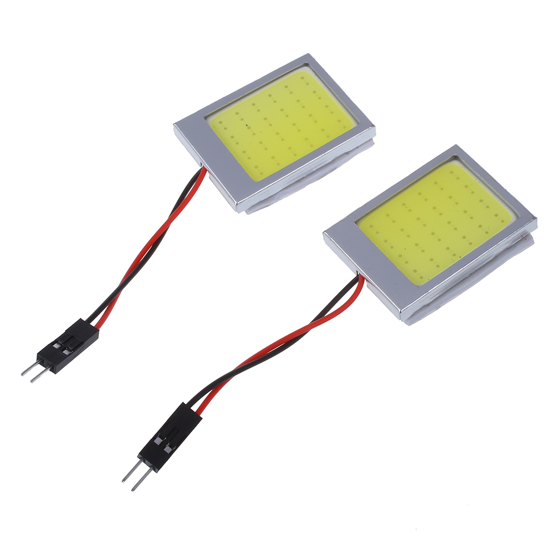 2 X T10 Panel 24 SMD COB LED Car Reading Bulb / Ceiling Lamp White + T10 / BA9S / Dome Festoon Adapters 1set t10 festoon 18 24 36 48smd cob car led vehicle panel lamps auto interior reading lamp bulb light dome 3adapter dc 12v