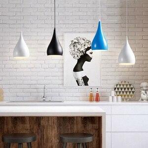 Image 2 - Modern LED kolye lambaları demir Metal aydınlatma armatürleri oturma odası alüminyum kolye ışık