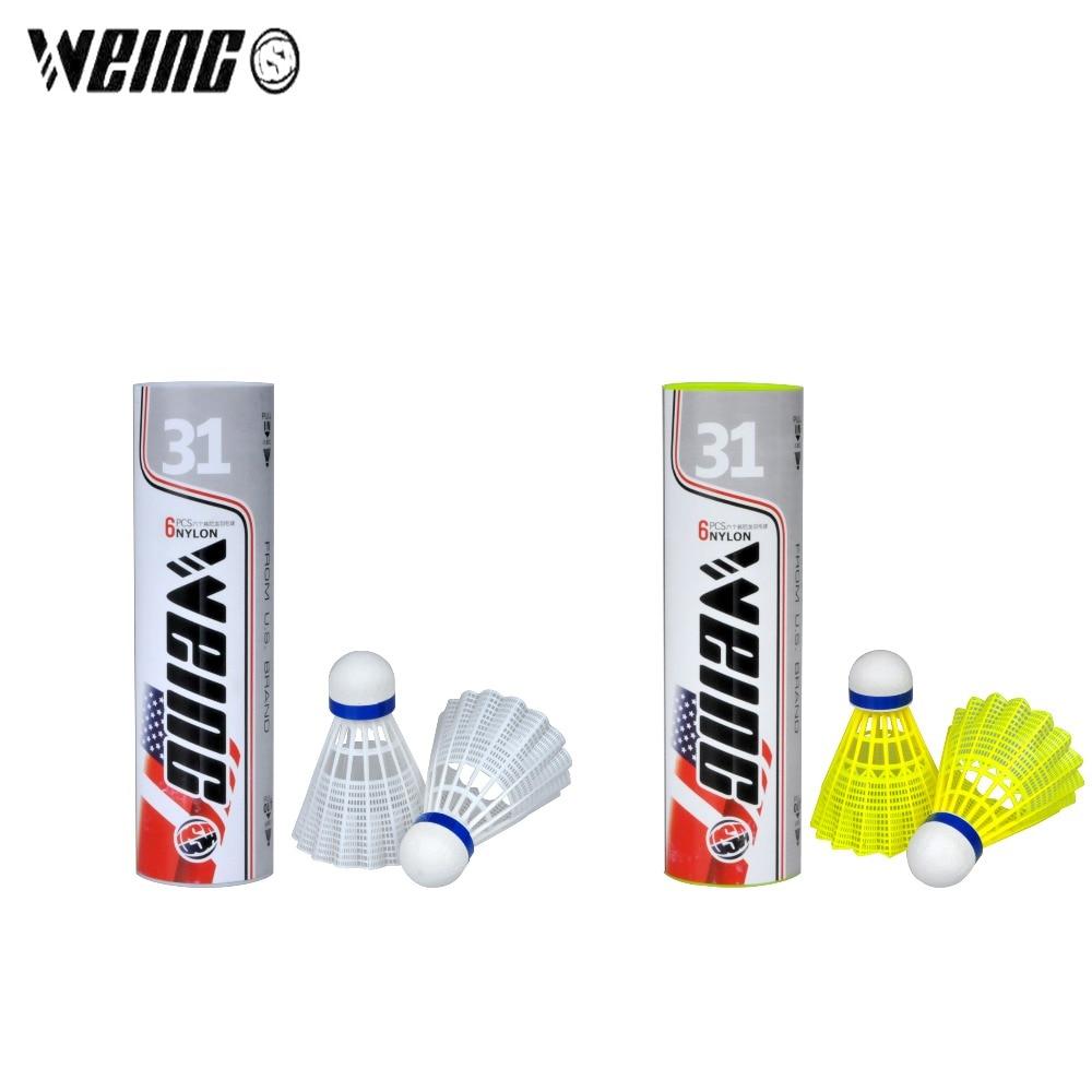 WEING 6 Pcs professional Nylon Badminton Shuttlecock Outdoor Training Sport Accessories Portable Balls Flight stability Durable