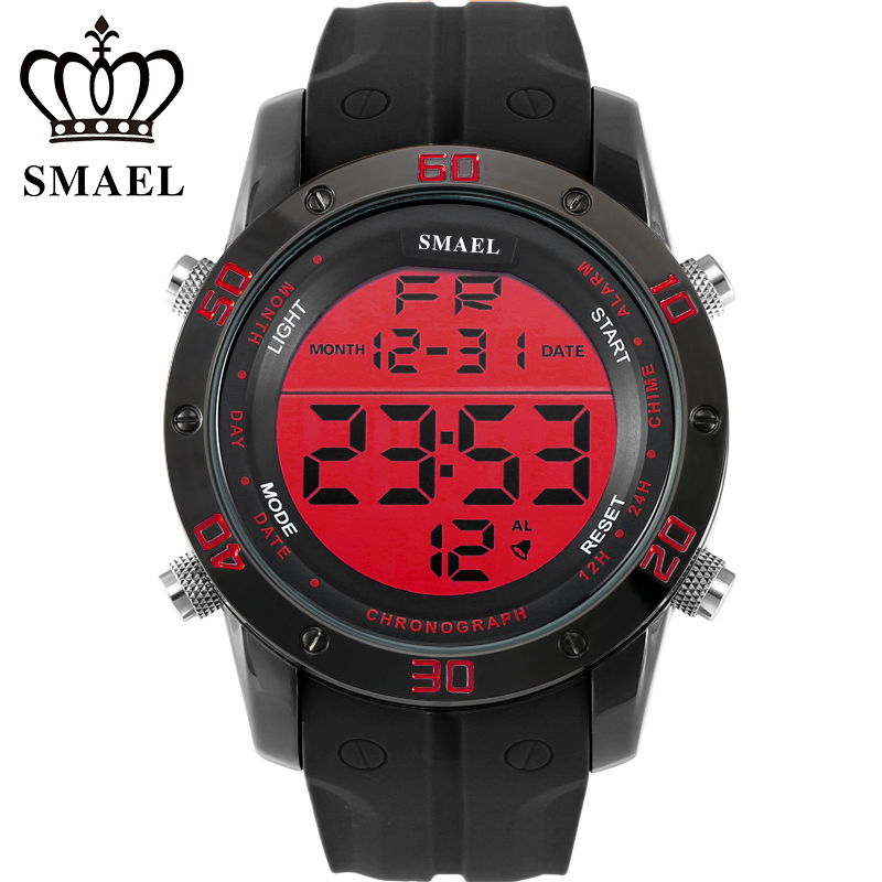 SMAEL Digital Watches Men Sport Wristwatch Waterproof IP Alloy Casual Watches LED montre homme relogios masculino