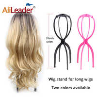 Pink Black 51Cm Wig Stand Head Plastic Wig Holder Stand Portable Folding For Styling Drying Display Travel For Women Long Wigs