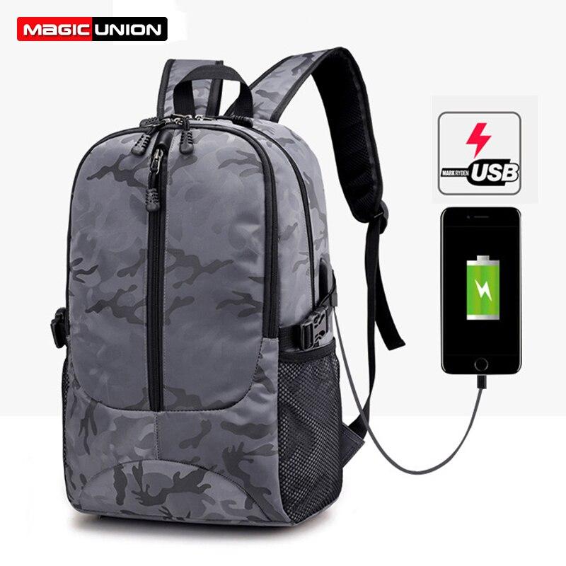 Gut Magie Union Männer Mochila Camouflage Schwarz Große Kapazität Tasche Maskulin 15,6 Zoll Laptop Spiel Taschen Schule Bookbag Frauen Reisetasche Rucksäcke