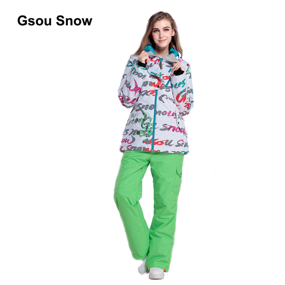 Gsou Snow Windproof Warm Women Ski Suit Waterproof Snowboard Winter Sport full suit climbing protect Jacket WSTZ0606-0610 цена