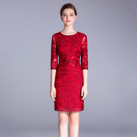 women evening Sequined summer dresses casual banquet Wedding sexy club party night dress plus size red lace floral slim fit