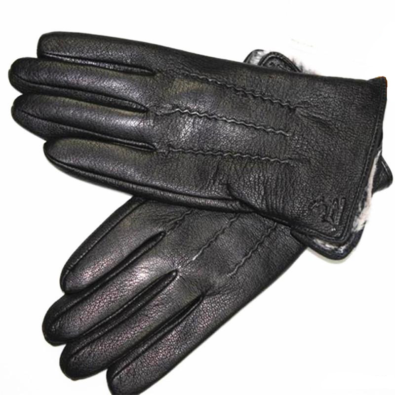 Guantes Winter Handschuhe männer Lederhandschuhe Hirschleder Verdickt Wasser Welle Stil Gefälschte Futter Herbst Und Winter Warme Kostenloser Versand
