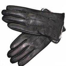 Deerskin guantes de piel sintética para hombre, de lana para otoño e invierno nuevo forro, forro grueso de piel de conejo falsa para conducción al aire libre