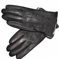 Deerskin Gloves Men Autumn And Winter Thickening Cold Insulation Imitation Rabbit Fur Lining Leather Gloves Free