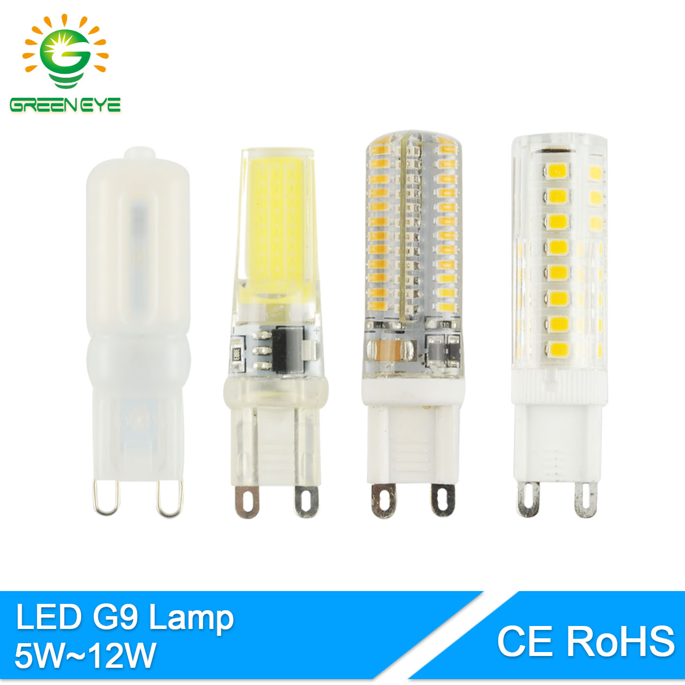 GreenEye 5W~12W LED G9 Bulb Dimmable COB AC 220V LED Light Replace Halogen Lamp G9 Led Light Crystal 6W 9W 10W Silicone Ceramics