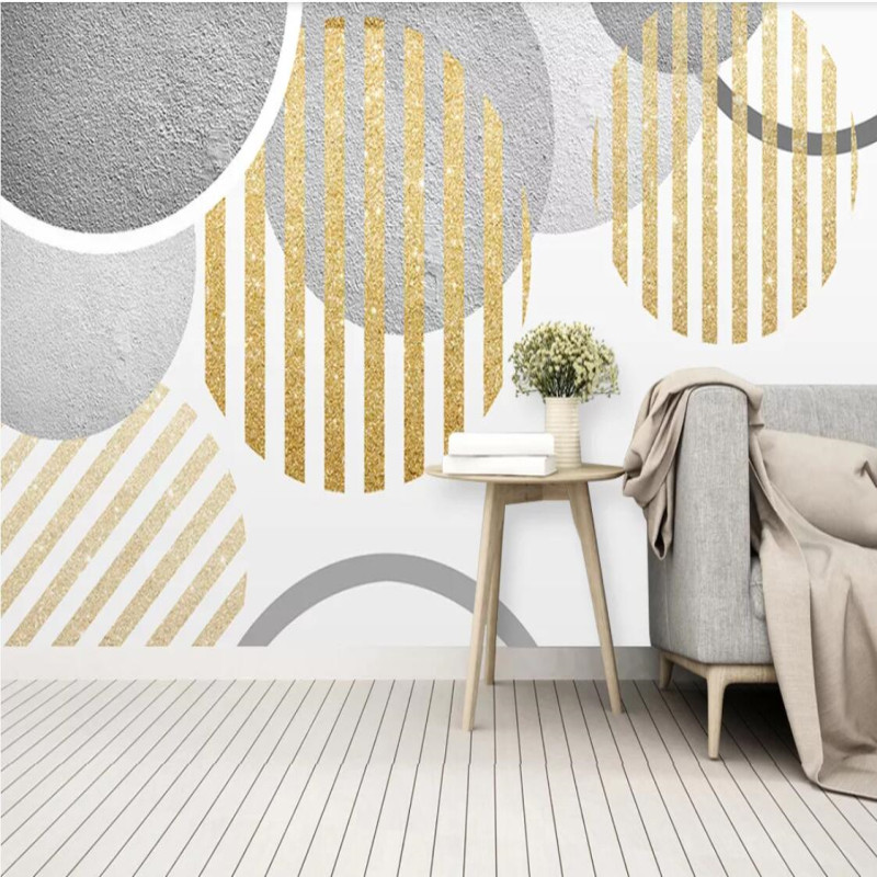 Nordic modern minimalistic personality abstract round geometric tv background wall in Fabric Textile Wallcoverings from Home Improvement