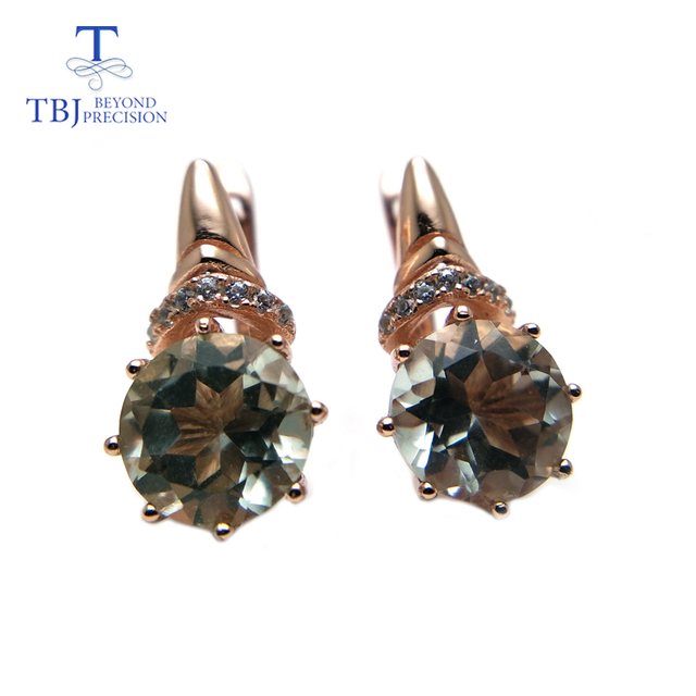 TBJ,Natural good luster color green amethyst gemstone clasp earring 925 sterling silver rose gold fine jewelry for girls gift