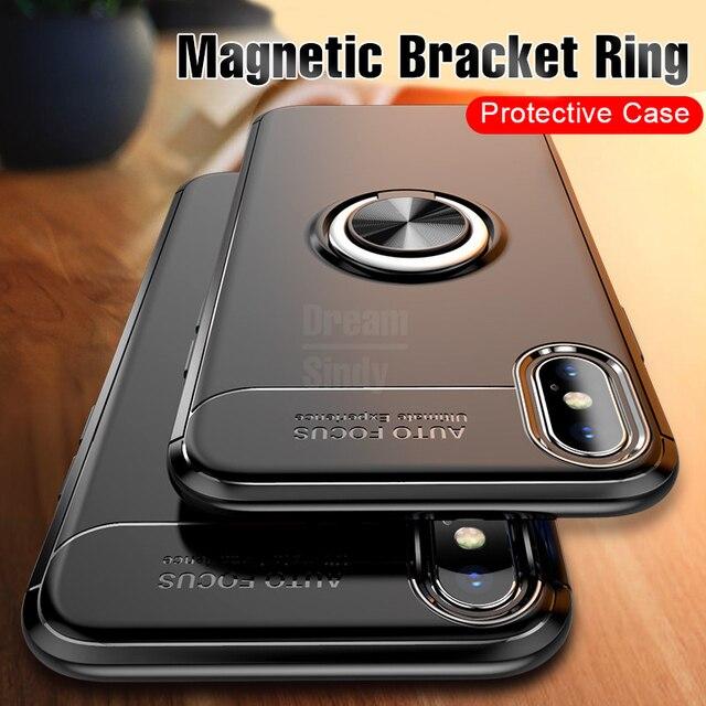 Funda protectora de TPU magnética de anillo de soporte de coche de lujo para iPhone 6 6 s Plus 8 funda para iPhone 7 Plus X 10 XR XS Max Shell casos
