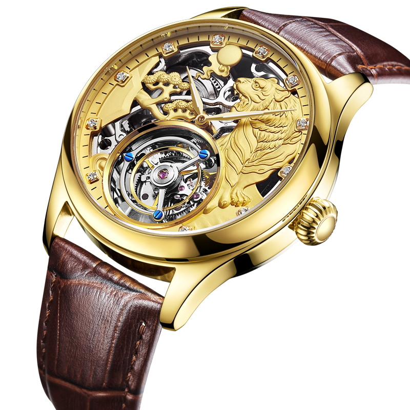 Original Tourbillon Men's Mechanical Watch Tiger Shape Fashion Casual Genuine Leather Male Clock Waterproof Mechanical Watch Men fashion tiger shape 10cm width wacky tie for men