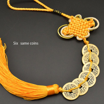 Chinese manual Knot Fengshui Lucky Charms Ancient I CHING Copper Coins Mascot Prosperity Protection Good Fortune Home Car Decor 15