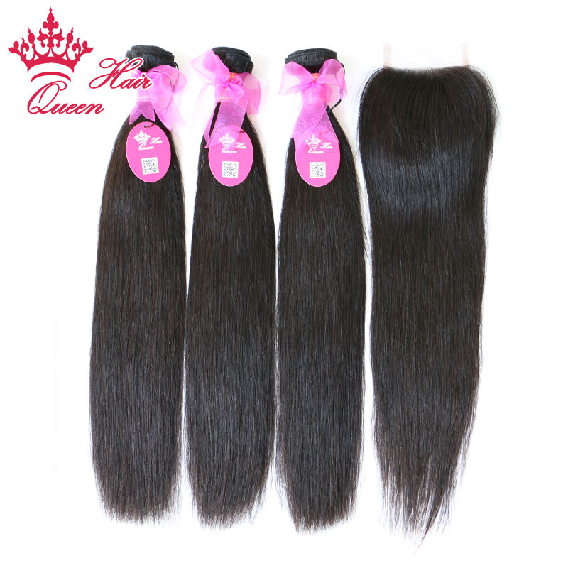 "Queen Hair 100% Brazilian virgin hair straight unprocessed hair Lace Closure with Hair Bundles, 4pcs/lot, 12""-30"" DHLFree"