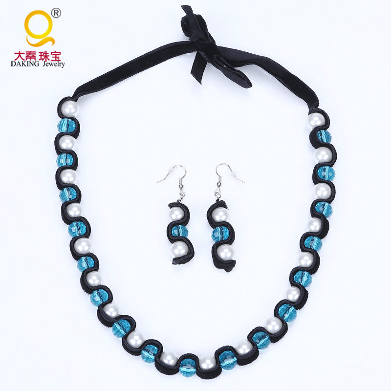 New crystal ball necklace earrings set  imitation pearl jewelry sets flannel winding multi-color choices jewelry set for women