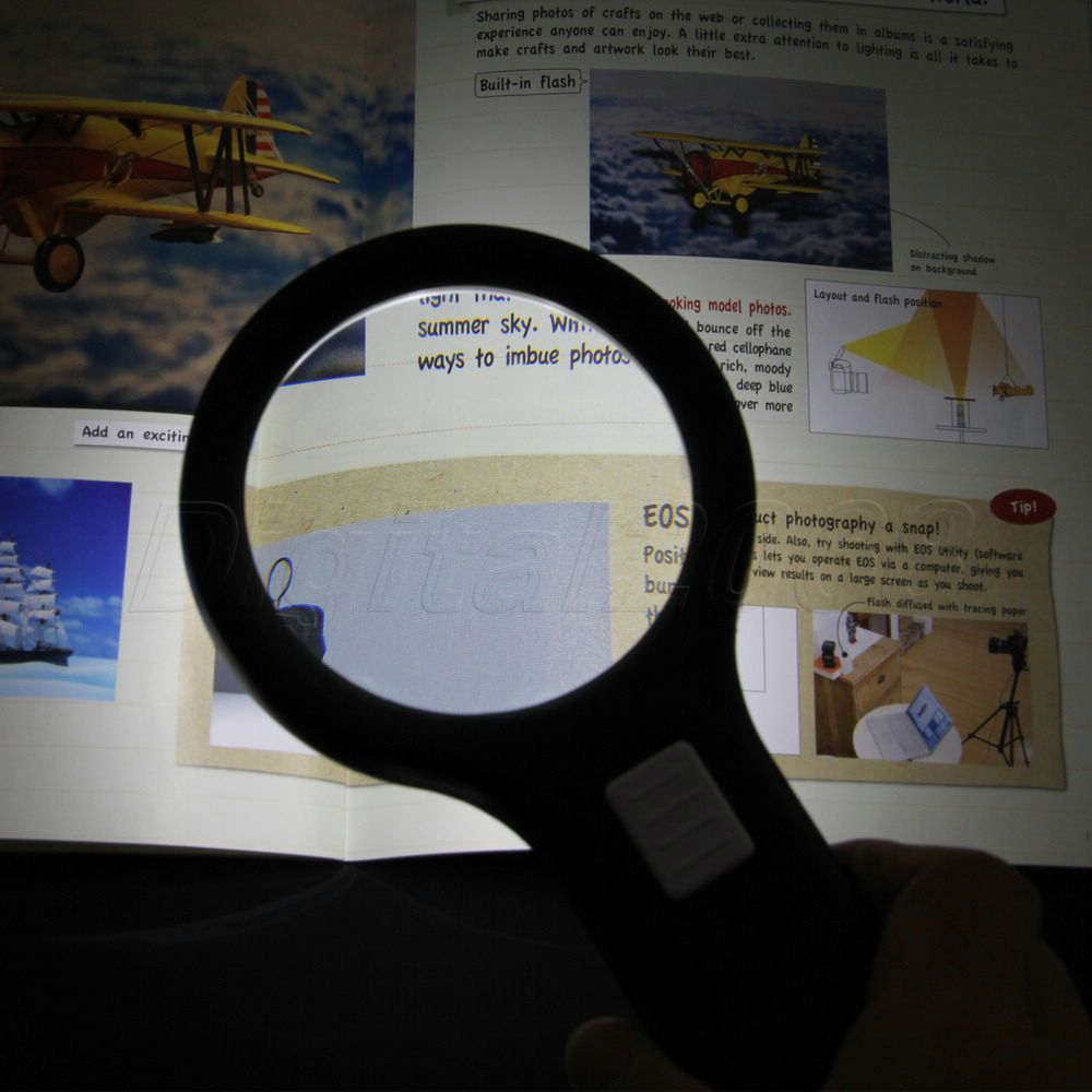 Hot Seling 5*Magnifying Glass Loupe Bright Illuminated Hand Held 10 LED Light Magnifier for Reading Work 20x led illuminated household dedicated handheld office reading magnifier magnifying glass loupe with 10pcs lamps