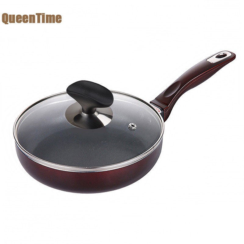 QueenTime 18 cm 7 pollice Piccola Padella Padella Uova Fritte bistecca Pentola antiaderente Non-fog Piastra Grill Pan Per Il Gas Induzione fornello