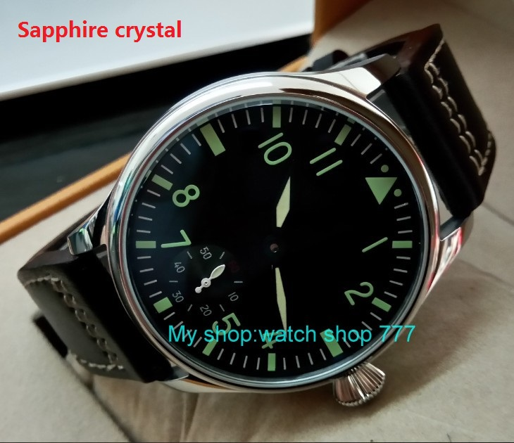 Sapphire crystal green luminous 44mm parnis 6498 / ST3621 17 jewels Mechanical Hand Wind movement  mens watches 395ASapphire crystal green luminous 44mm parnis 6498 / ST3621 17 jewels Mechanical Hand Wind movement  mens watches 395A