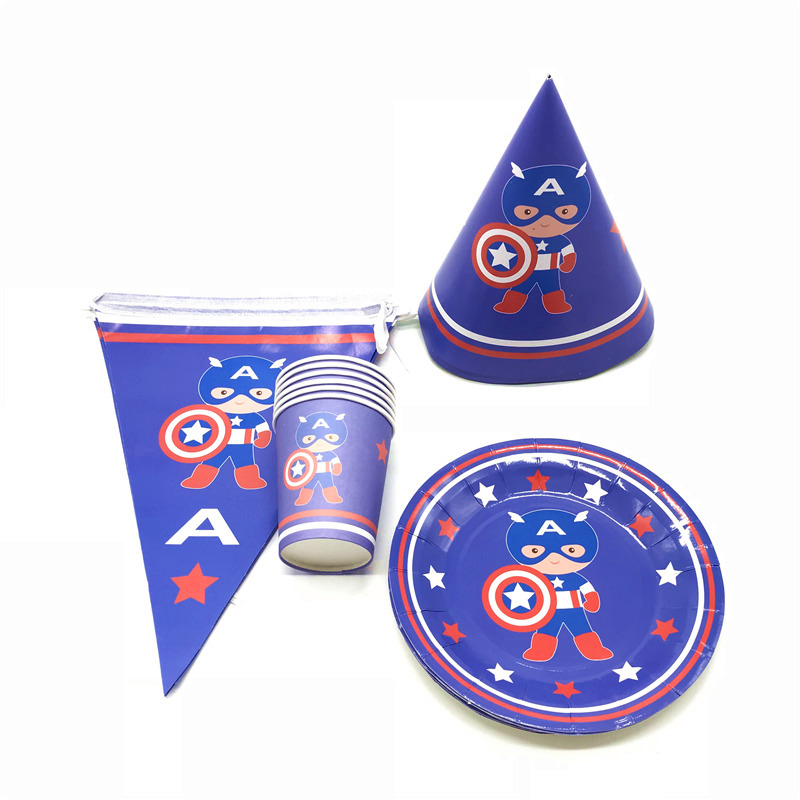 Hot Sale Captain America 78Pcs Paper Cup+Plate+Banner Boy Birthday Party Event Party Family Party Cocked Hats Decoration Supply