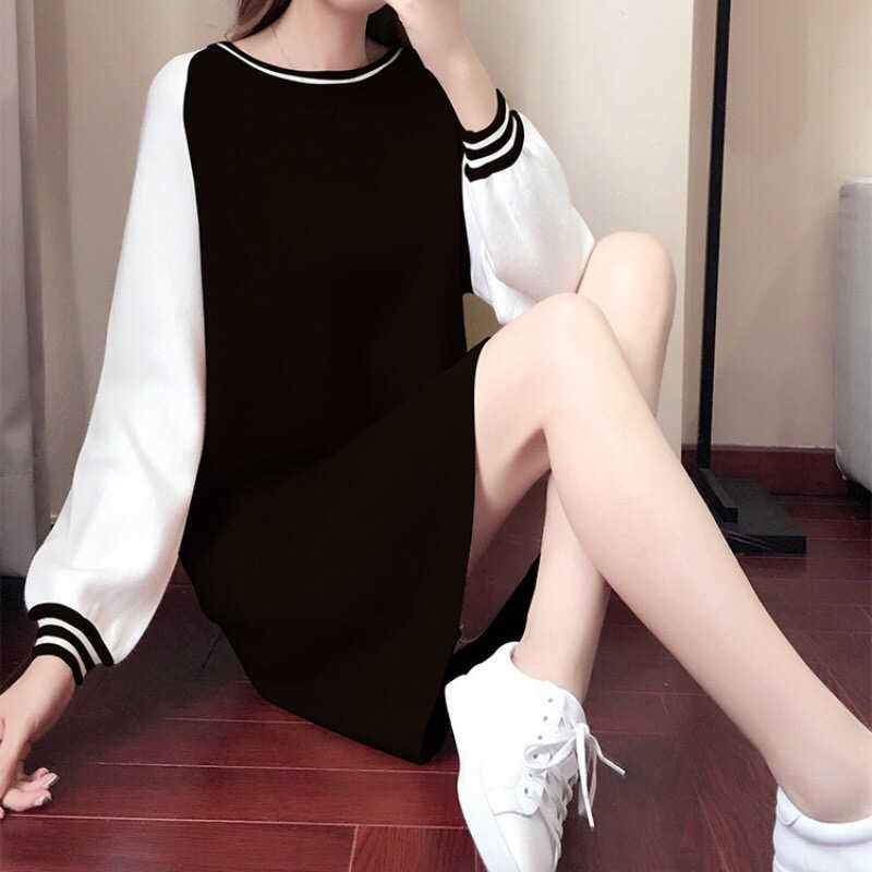 新ファッションエレガントな女性の O ネックヴィンテージカジュアルルーズドレス秋ステッチカジュアルパーティーボディコンミニドレス Vestidos