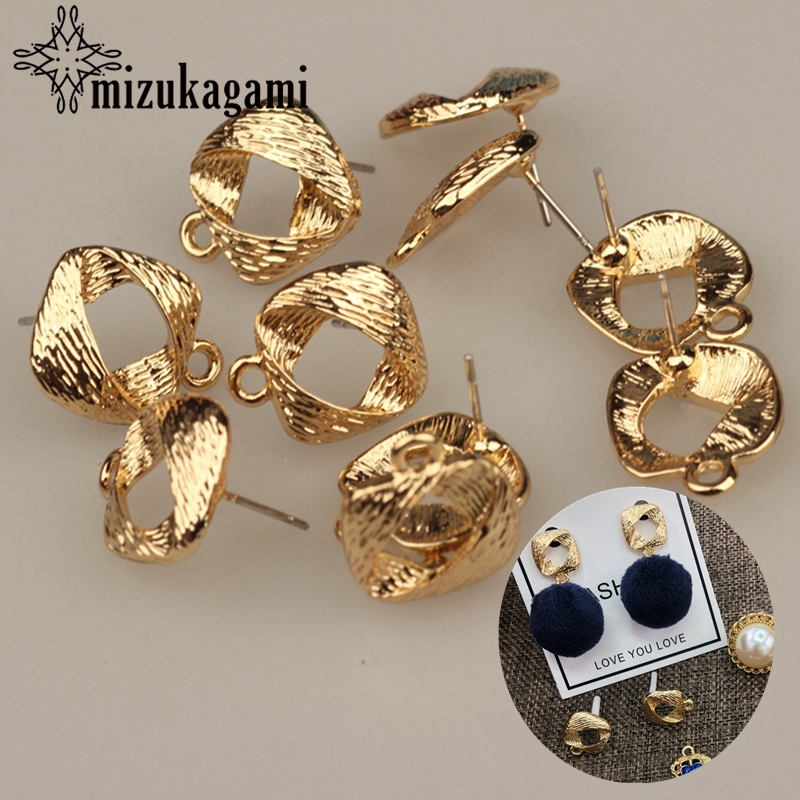 13mm 6pcs/lot Zinc Alloy Gold Metal Geometric Square Base Earrings Connector For DIY Fashion Earrings Making Jewelry Accessories