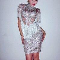 Блестящие Серебряные Кристаллы платье блестят стразы Костюм Производительность Экипировка вечерние Празднуйте платья певица этап одежда