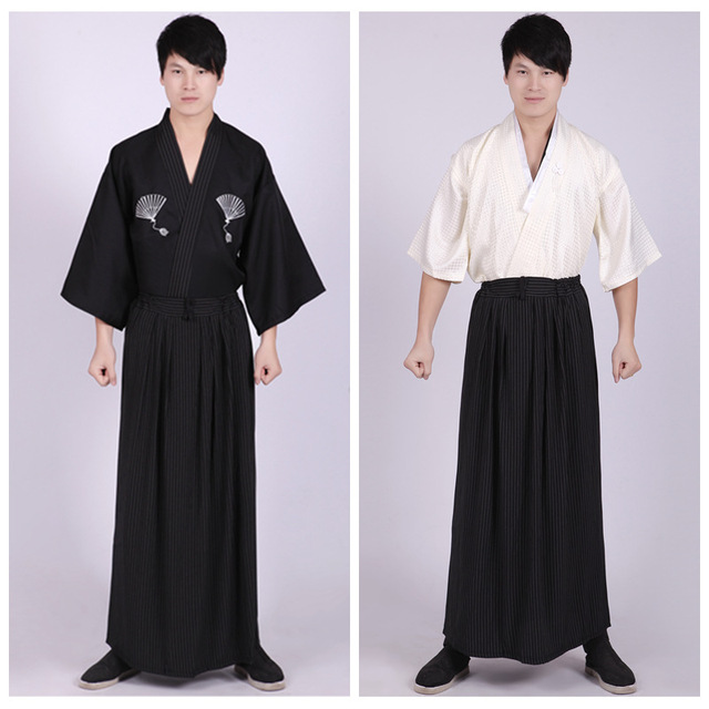 3 Piece Set Japanese Kimonos Traditional Clothing Samurai Cosplay Costume Men Vintage Long Kimono Summer Style