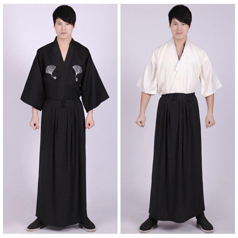 b8e0ee732 € 26.3 30% de DESCUENTO|Juego de 3 piezas Kimonos japoneses ropa  tradicional Samurai Cosplay disfraz hombres Vintage largo verano estilo  Kimono ...
