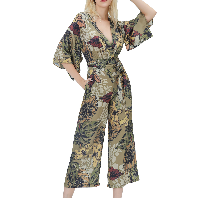 Summer Rompers Womens Jumpsuit 2019 Casual Printing Womens Clothing Wide Leg Jumpsuit Women