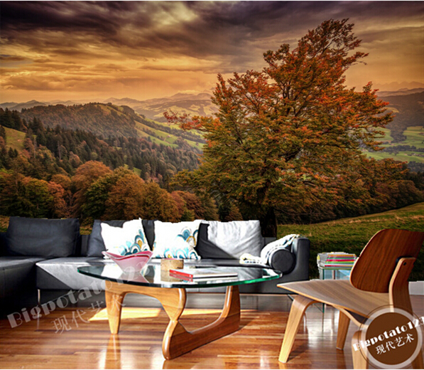 Custom photo wallpaper, Autumn Scenery Trees Grass for the sitting room  bedroom TV setting wall paper waterproof wallpaper the walnut trees of altenburg paper only