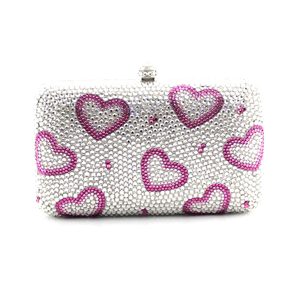 Flap shape heart pattern crystal clutch evening bag Rhinestone wedding Evening Purse Bride Party Handbag(1003-PH) 2016 women fashion metallic rhinestone flower pattern crystal evening bag wedding bride clutch handbag