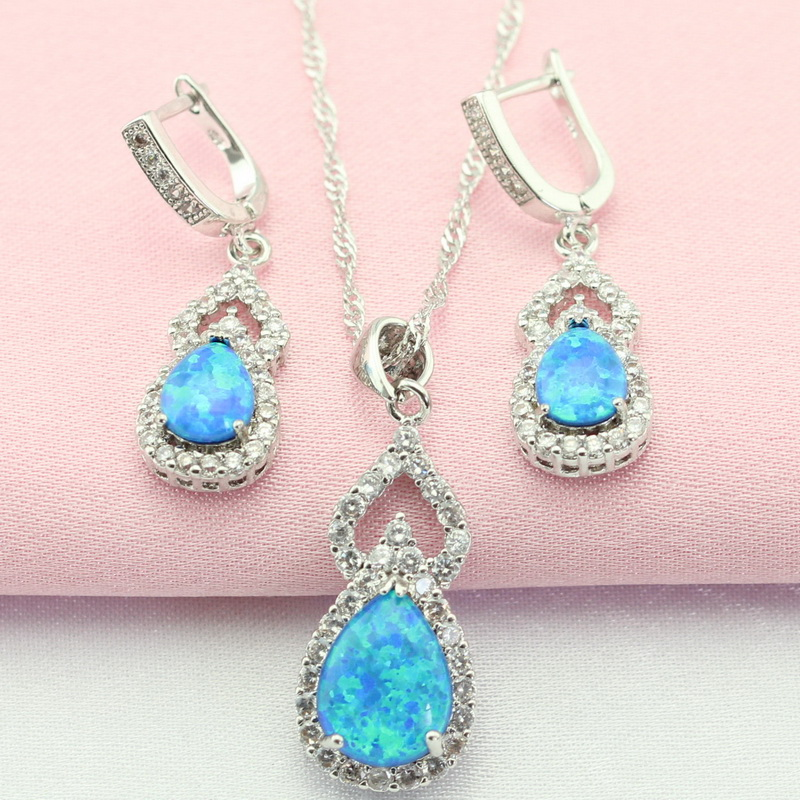 WPAITKYS Classic Geometric Blue Australia Opal Silver Color Jewelry Sets For Women Drop Earrings Pendant/Necklace Free Gift Box