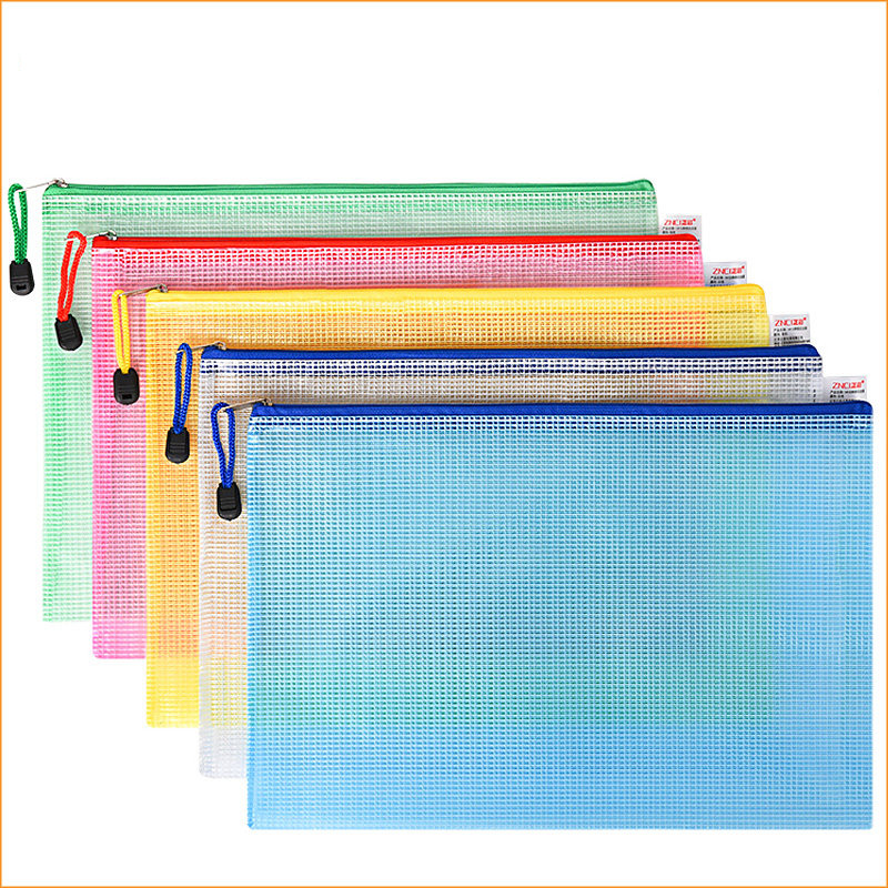 10pcs or 1pcs optional gridding waterproof Zi Pdocument Bag Filing Products Pocket Folder  Office School file folder Supplies 5