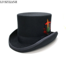 LUCKYLIANJI Large Size Real Feather Victorian Formal Wool Felt Classic  Elegant English Mad Hatter Lined Top 3bd3771d4a14