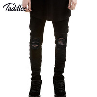 Taddlee Brand Men Long Pants Punk Skinny Slim Fit Jeans Trousers Black Straight Motorcycle Jeans Jogger