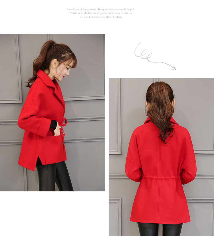 Collar Plus Top down Femelle Turn Laine Manteau red bleu Mode Courte White Printemps Veste Casual 2017 Automne H881 rice La Camel Femmes Taille wY77CZ
