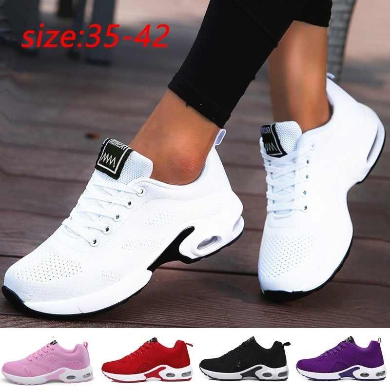 אופנה נשים קל משקל נעלי ריצה חיצוני ספורט נעלי רשת לנשימה נוחות נעלי ריצה אוויר כרית תחרה עד
