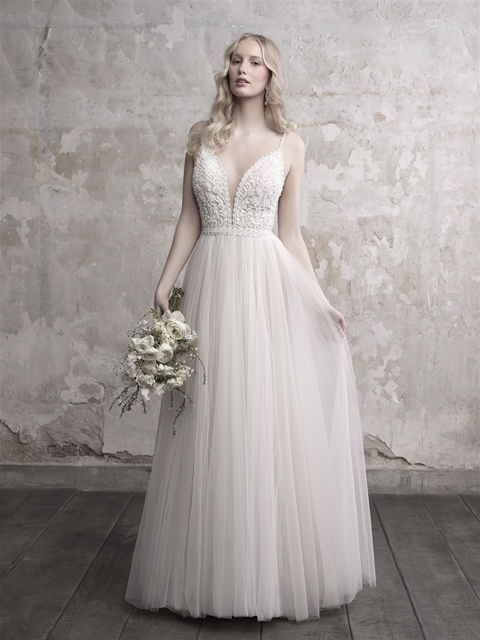 Image 3 - Gorgeous Pearls Beads Lace Applique Tulle V neck Neckline Sweep Train Wedding Dress with Backless A line Beads Spaghetti Straps-in Wedding Dresses from Weddings & Events