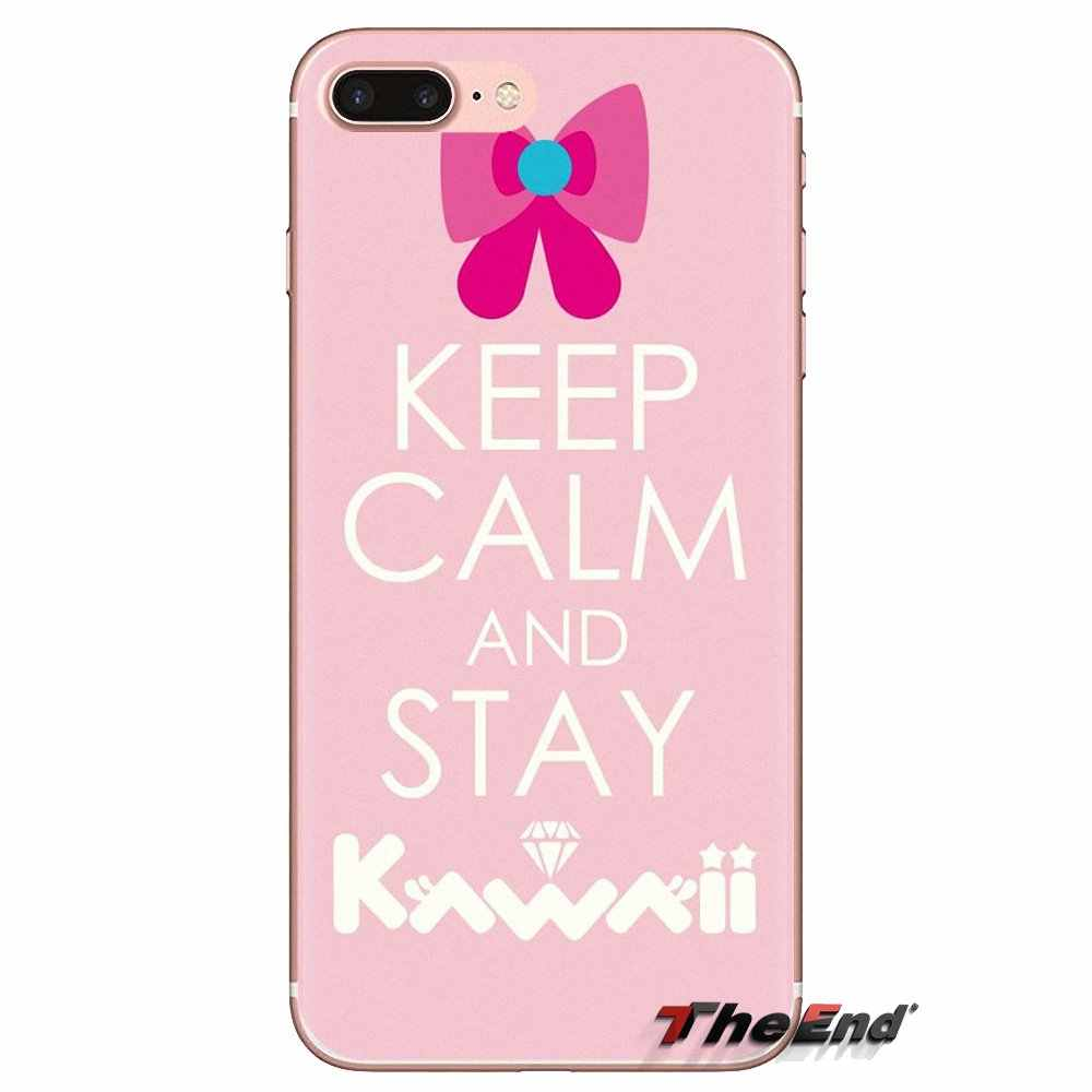 Trong suốt Mềm Có Cho Ipod Cảm Ứng iPhone 4 4S 5 5S SE 5C 6 6S 7 8 X XR XS Plus MAX Giữ Bình Tĩnh Và Được Kawaii Màu Hồng