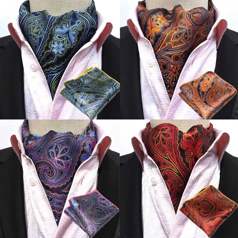Men Fashion Paisley Cravat Ascot Necktie Matching Hanky Pocket Square Set BWTHZ0240