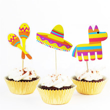 Omilut 6pcs Mexican Party Cake Topper LLama Birthday Decoration Supplies Cactus Gift For Kid